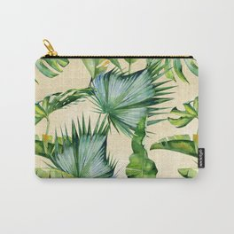 Green Tropics Leaves on Linen Carry-All Pouch