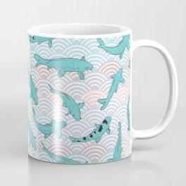 Koi carp. Blue fish. Asian wave circle background Coffee Mug