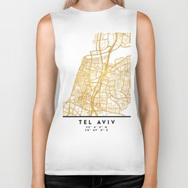 TEL AVIV ISRAEL CITY STREET MAP ART Biker Tank