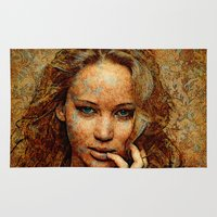 jennifer lawrence Area & Throw Rugs featuring Portrait of Jennifer Lawrence by André Joseph Martin