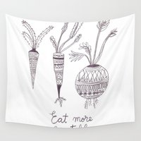 vegetables Wall Tapestries featuring Eat more vegetables by Ioana Avram