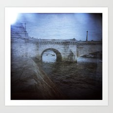Paris Bridge & Seine Holga Double Exposure Art Print