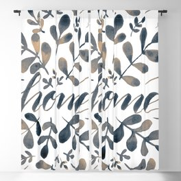 Watercolor home foliage – neutral Blackout Curtain