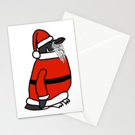 Cute penguin dressed in a Santa suit, Santa hat and white beard Stationery Cards