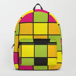 Bright neon colors square pattern Backpack