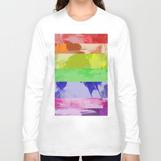 Rainbow Stripes - Abstract, textured, red, orange, yellow, green, blue, indigo, violet artwork Long Sleeve T-shirt