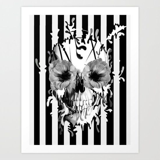 Limbo, Skull with poppy eyes Art Print
