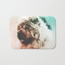 Chow Chow Digital Watercolor Painting Bath Mat