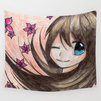 manga Wall Tapestries featuring MANGA GIRL FLOWERS GREETINGS by LUCI-ART