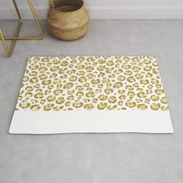 Glamorous Faux Sparkly Gold Leopard Rug