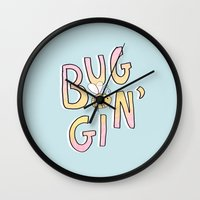 clueless Wall Clocks featuring Totally Buggin' by MidnightCoffee