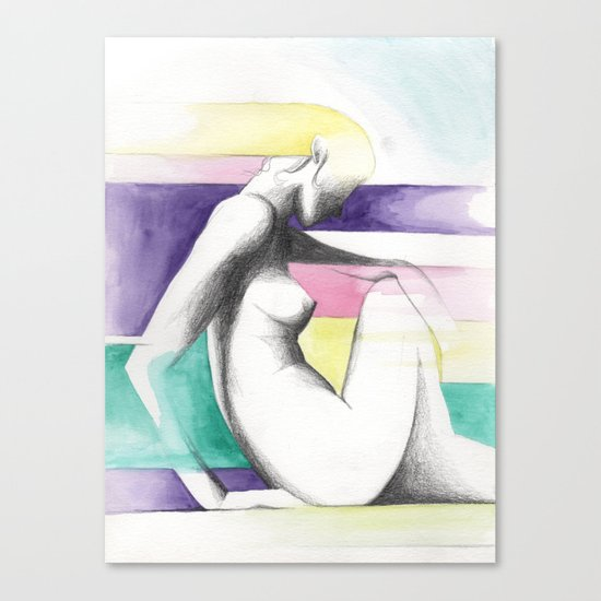 pensive rainbow woman Canvas Print