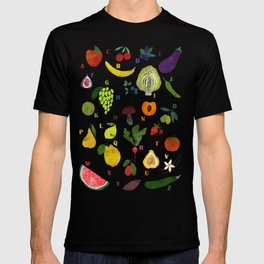 English fruit and vegetables alphabet on dark T-shirt
