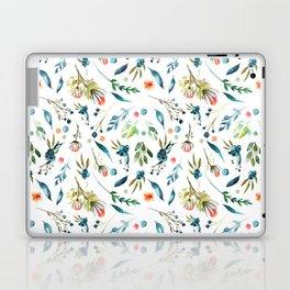 Watercolor navy blue orange botanical floral Laptop & iPad Skin