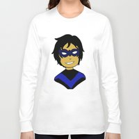 nightwing Long Sleeve T-shirts featuring Robin I - Nightwing by Tristan Sites