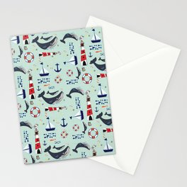 Ocean Blue Whale Aqua Stationery Cards