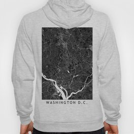 Washington D.C. Black And White Map Hoody