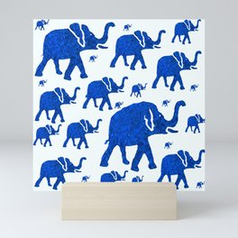 ELEPHANT BLUE MARCH Mini Art Print