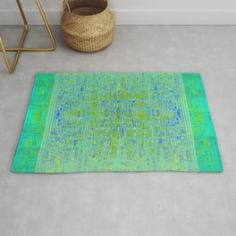 Tapestry Turquoise, Chartreuse, Blue and Olive Rug