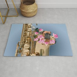 Saxophone Boxer with Lotos Flower Blossoms Rug