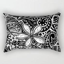Polynesian Black And White Tribal Rectangular Pillow
