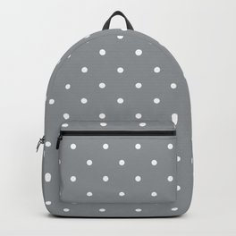 Small White Polka Dots with Grey Background Backpack