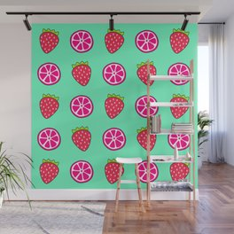 Tropical exotic distressed grapefruit slices and sweet red strawberries summer fruity teal green cute pattern design. Wall Mural