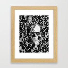 Rose skull on black lace base. Framed Art Print