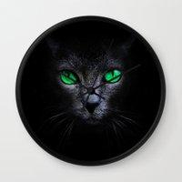 black cat Wall Clocks featuring Black Cat by Sitchko Igor