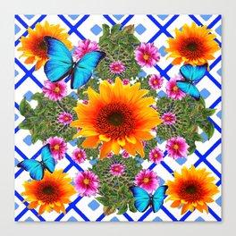 Western Sunflowers Blue Butterflies Floral  Art Canvas Print