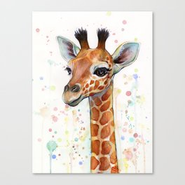 Giraffe Baby Watercolor Canvas Print