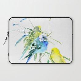 Parakeets green yellow blue bird decor Laptop Sleeve