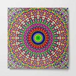 Vibrant Flower Garden Mandala Metal Print