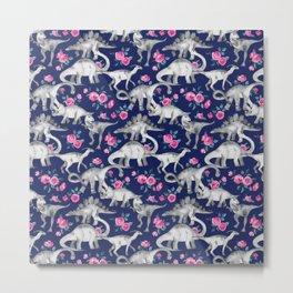 Dinosaurs and Roses on Dark Blue Purple Metal Print