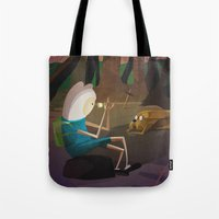 finn and jake Tote Bags featuring Finn & Jake by modHero