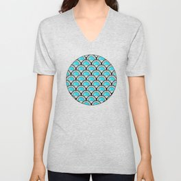 Aqua Art Deco Twenties Fan Pattern Unisex V-Neck