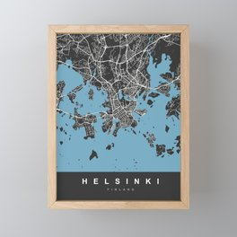 Helsinki Map | Finland | Black & Blue Colors | More Colors, Review My Collections Framed Mini Art Print