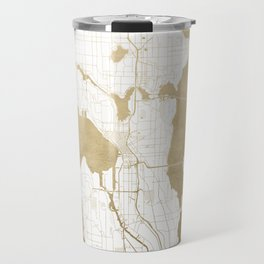 Seattle White and Gold Map Travel Mug