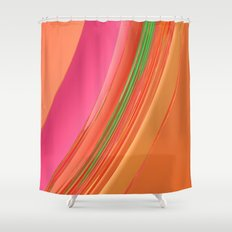 Peach Apricot Mango Bold Stripes Shower Curtain