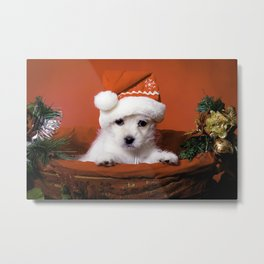 White Terrier Mix Puppy Sitting in a Christmas Basket Wearing a Santa Hat Metal Print