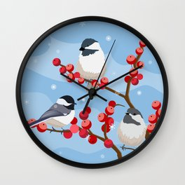 Berries in the Snow Wall Clock