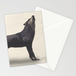Howling Wolf (Double Exposure Animal Portraits) Stationery Cards