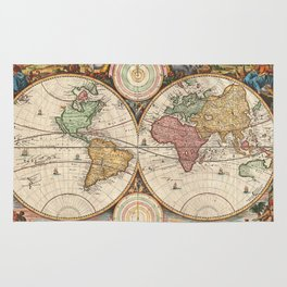 Vintage Map of The World (1730) Rug