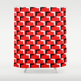Cornered Pattern - Black and White on Red Shower Curtain