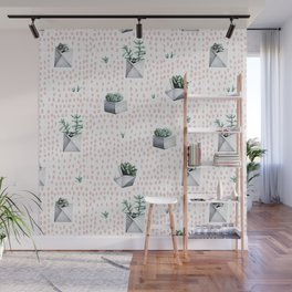 Potted Succulents Pink Polka Dots Wall Mural