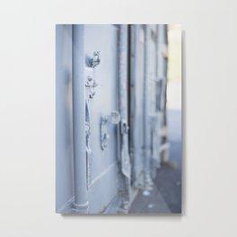 Industrial Blue Door Metal Print