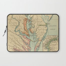 Vintage Virginia and Maryland Colonies Map (1905) Laptop Sleeve