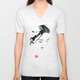 japanese face Unisex V-Neck