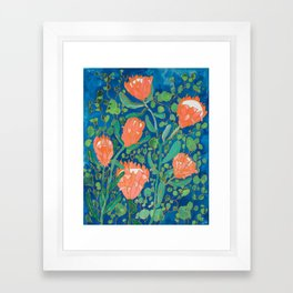 Coral Proteas on Blue Pattern Painting Framed Art Print