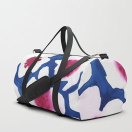 Splendor -dark blue and pink floral watercolor Duffle Bag